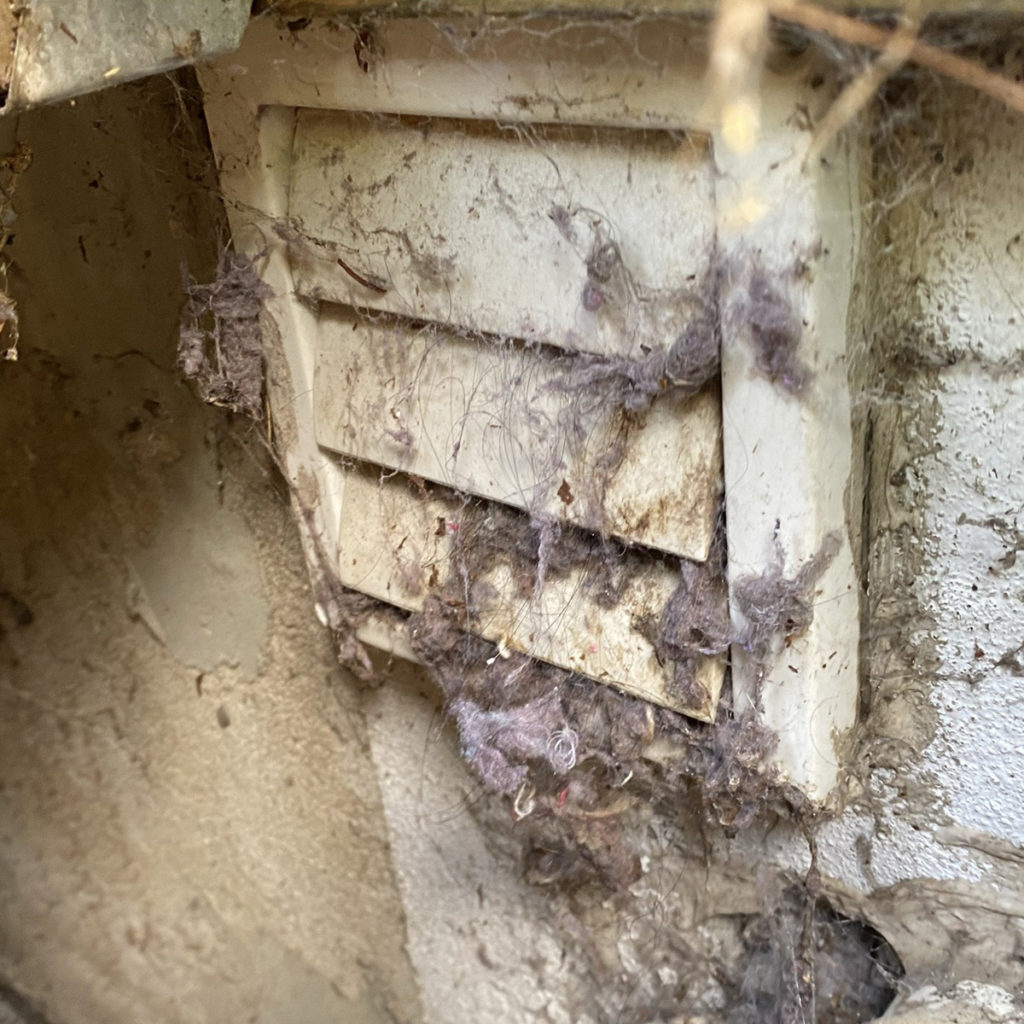 dryer vent exhaust in need of cleaning