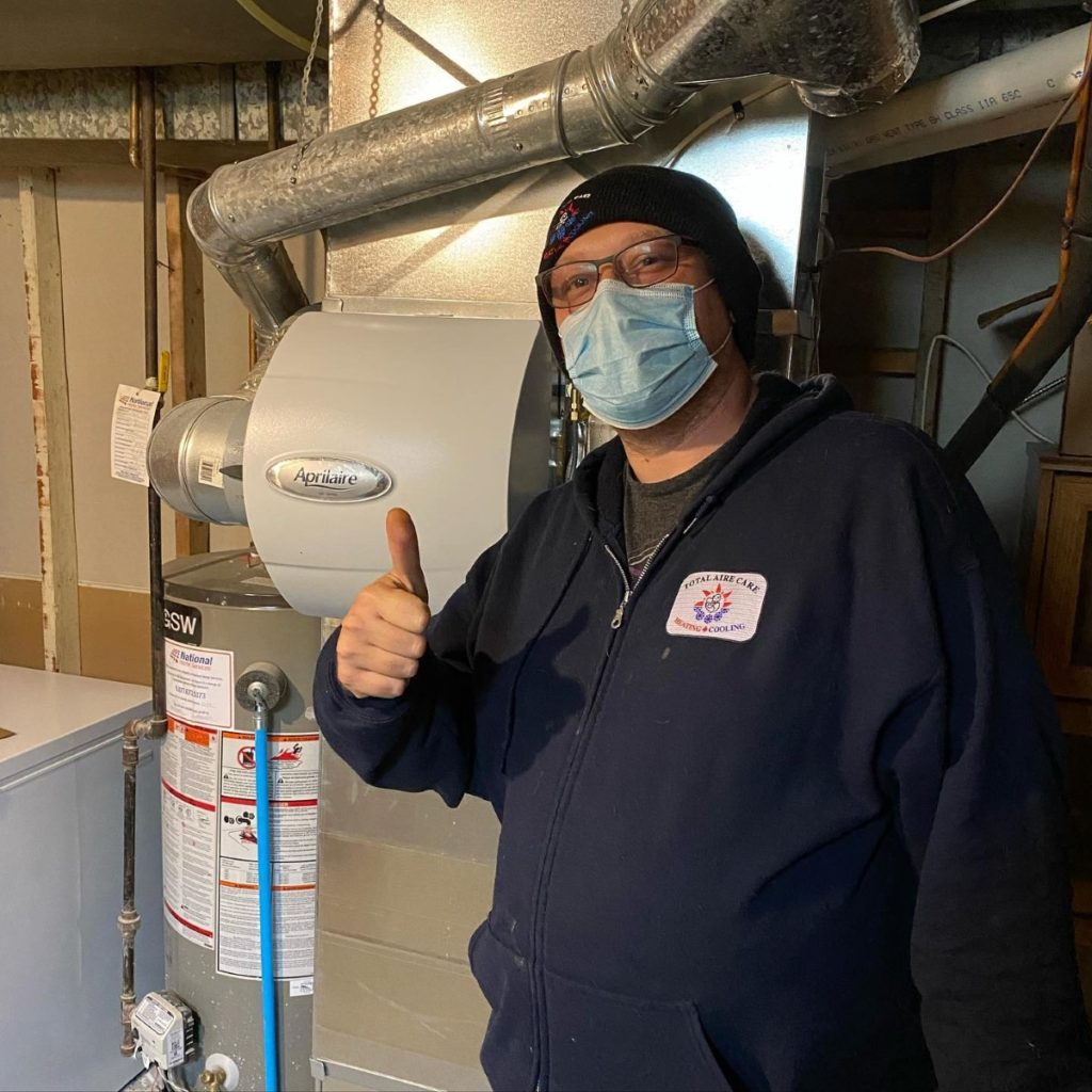 james installing an Apirilaire whole home humidifier
